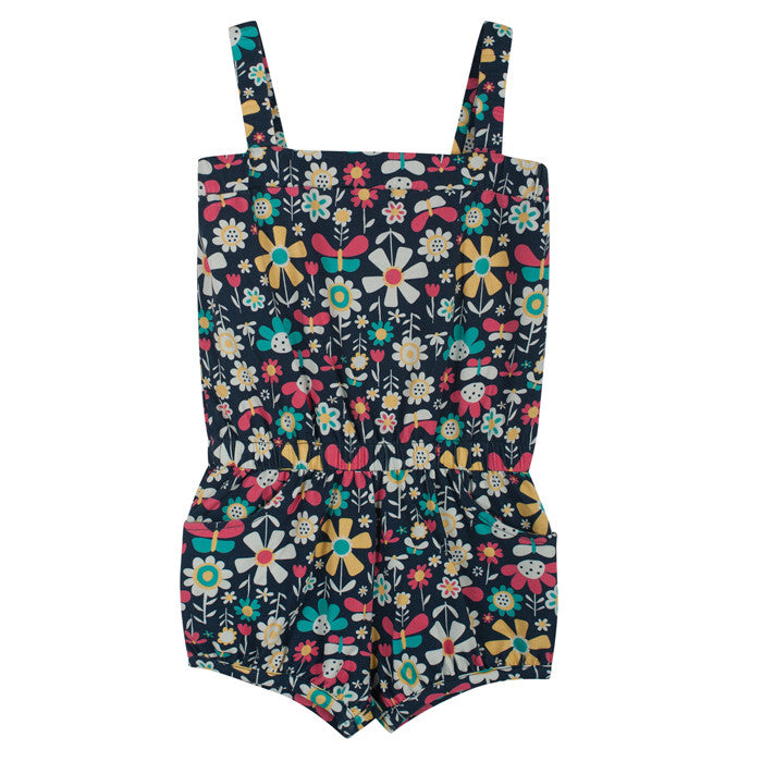 The Frugi Festival Playsuit is made from 95% organic cotton with 5% elastane.