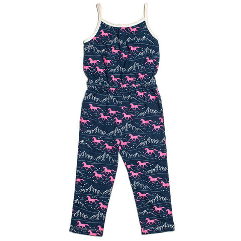 Catalina Jumpsuit - Navy & Pink Wild Horses