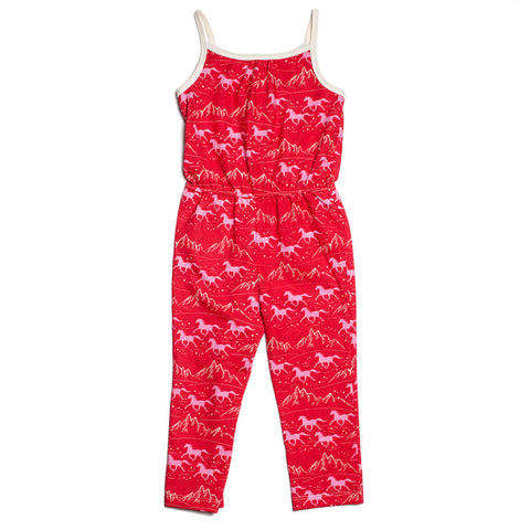 Catalina Jumpsuit - Red & Pink Wild Horses