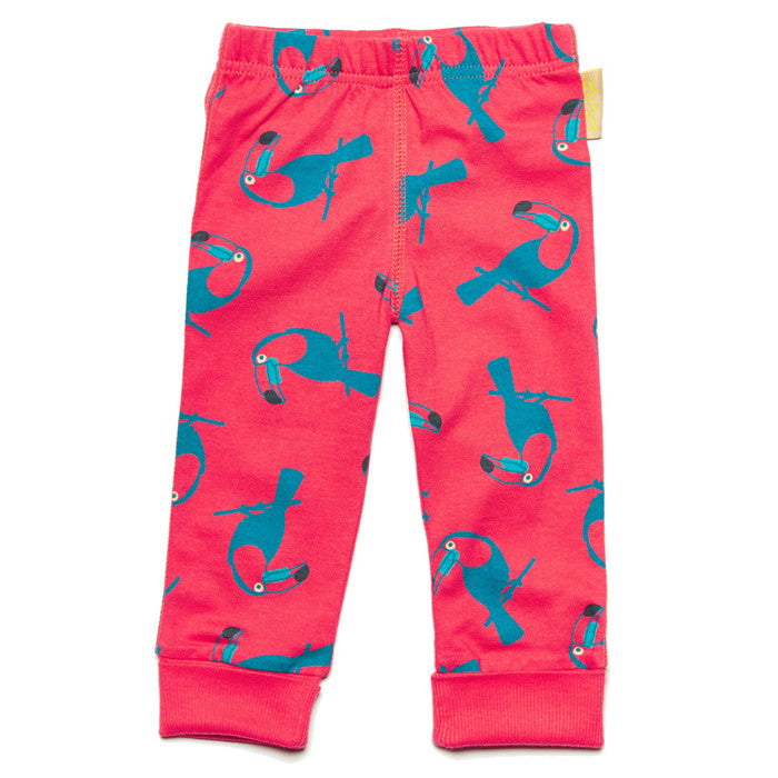 Baby toucan print 100% organic cotton leggings by Boys&Girls at Small to TALL