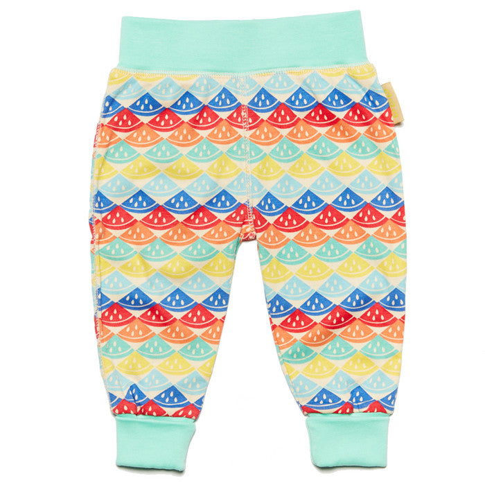 Rainbow watermelon 100% organic cotton baby trousers by Boys&Girls at Small to TALL