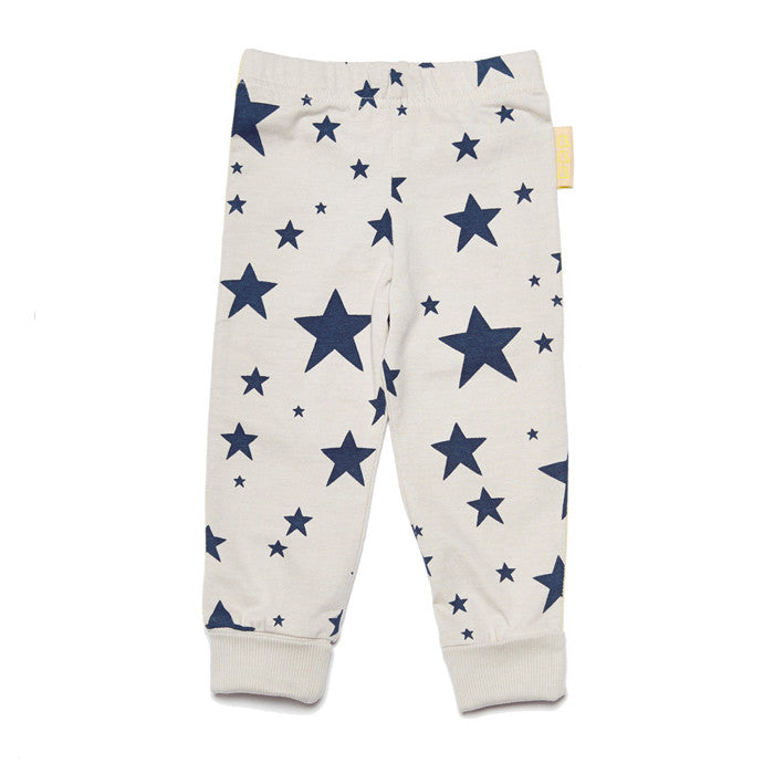 100% GOTS certified organic cotton dark stars leggings by Boys&Girls at Small to TALL