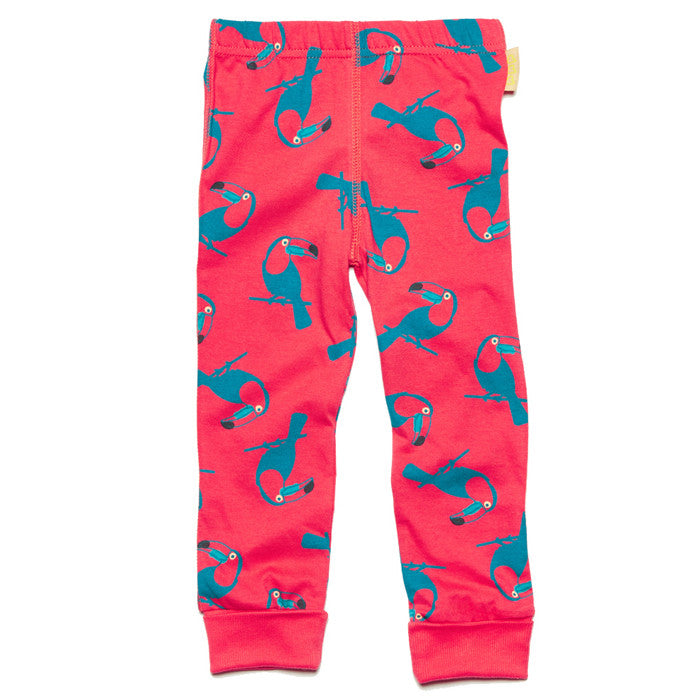 Red toucan print 100% GOTS organic cotton leggings by Boys&Girls at Small to TALL