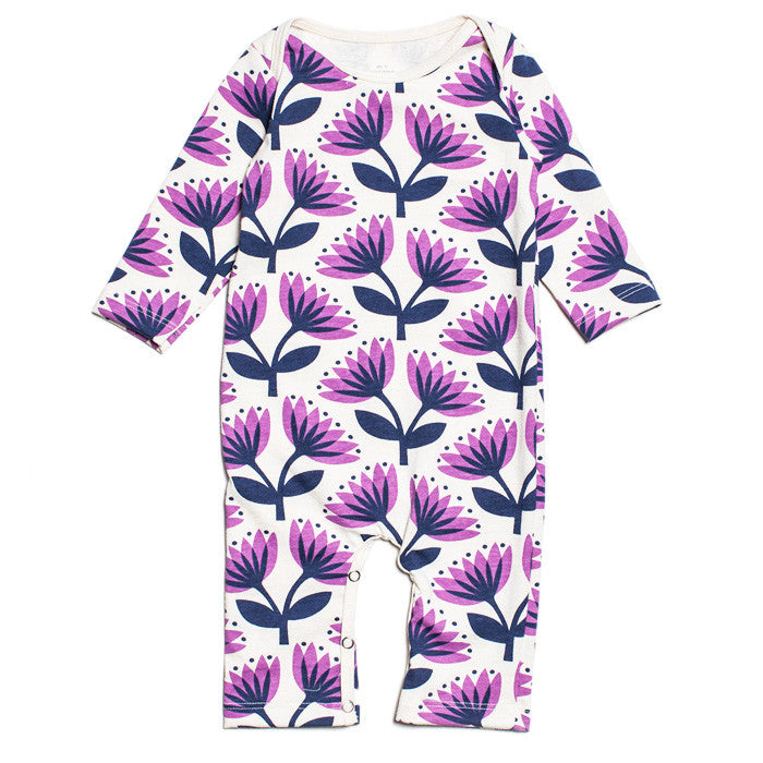 The Lotus Floral long sleeve playsuit by Winter Water Factory at Small to TALL