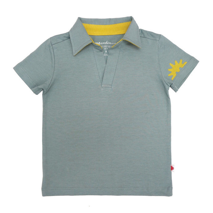 100% organic cotton blue aqua polo shirt with sunflower yellow urchin print on sleeve