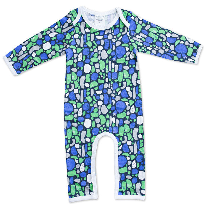 The Mosaic in Blue Romper by Joeyjellybean designed in collaboration with Geelong artist Pete Cromer