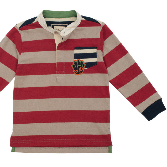 Collarless Red Stripe Rugby Shirt by Frugi at Small to TALL