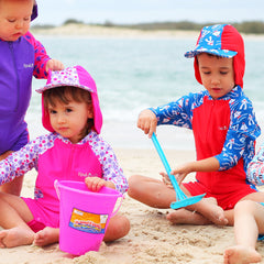 The long sleeve Summer Sailor swimsuit and hat set by Rashoodz Australia available at Small to TALL