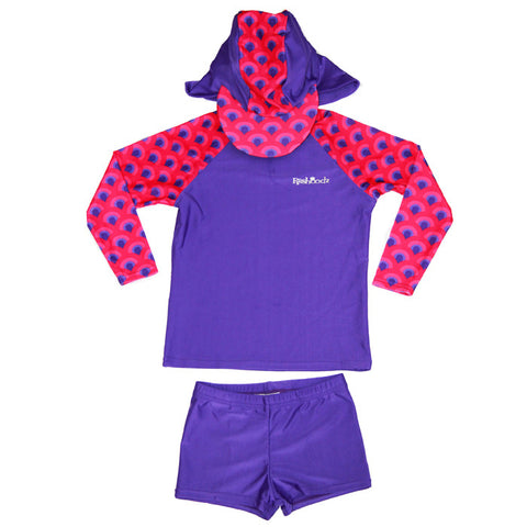 Long Sleeve Swimwear Set: Purple Peacock