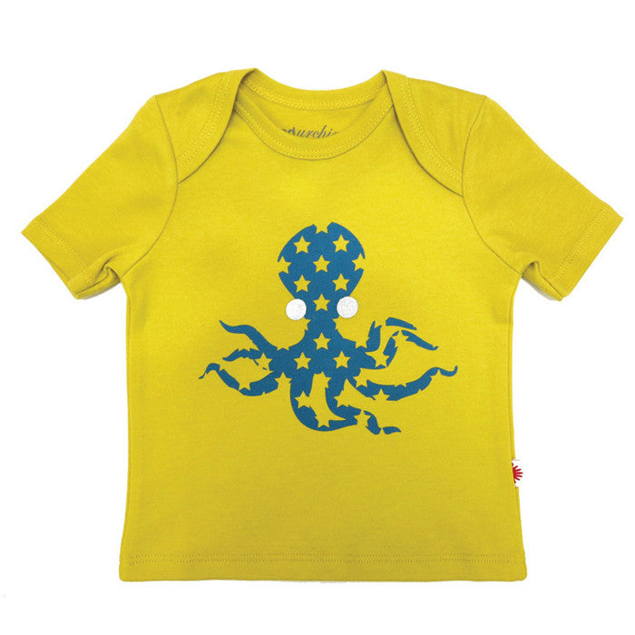 100% organic cotton t-shirt featuring an octopus print with sparkly eyes