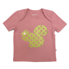 100% organic cotton baby t-shirt with gold squirrel print on rose pink