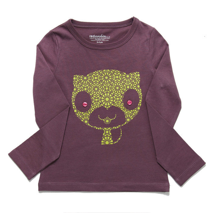 Cat Long Sleeve Tee by London kids' label redurchin at Small to TALL
