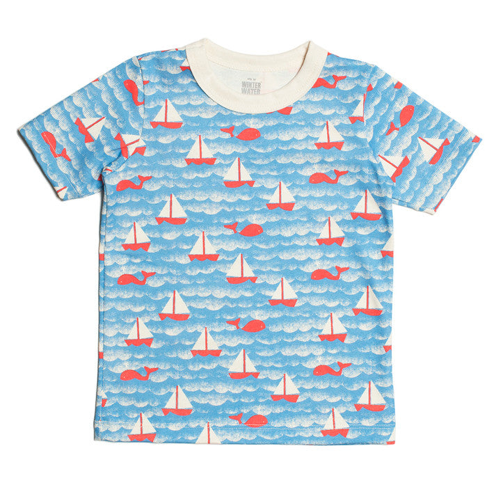 The Winter Water Factory sailboat short sleeve tee in orange and sky blue at Small to TALL