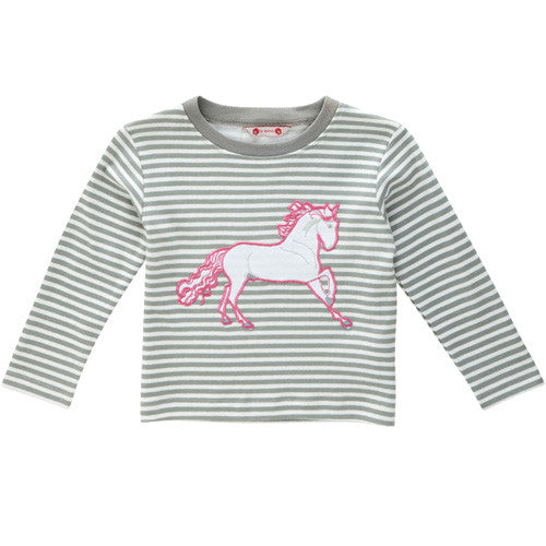 Wild Horse Applique Stripe Tee by Piccalilly UK at Small to TALL