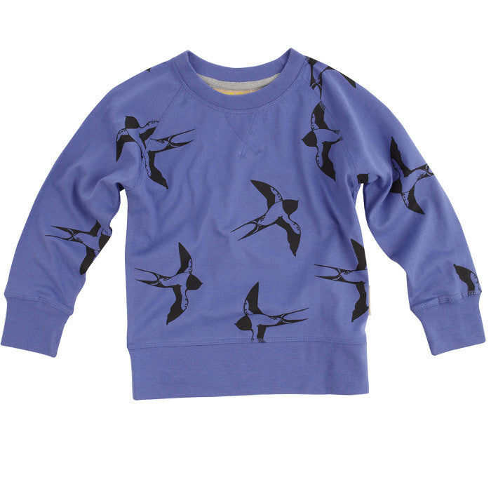 Blue Birdy Raglan Top by London kids' clothing label Boys&Girls at Small to TALL