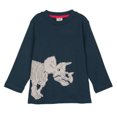Long sleeve navy top with a wraparound dino triceratops applique