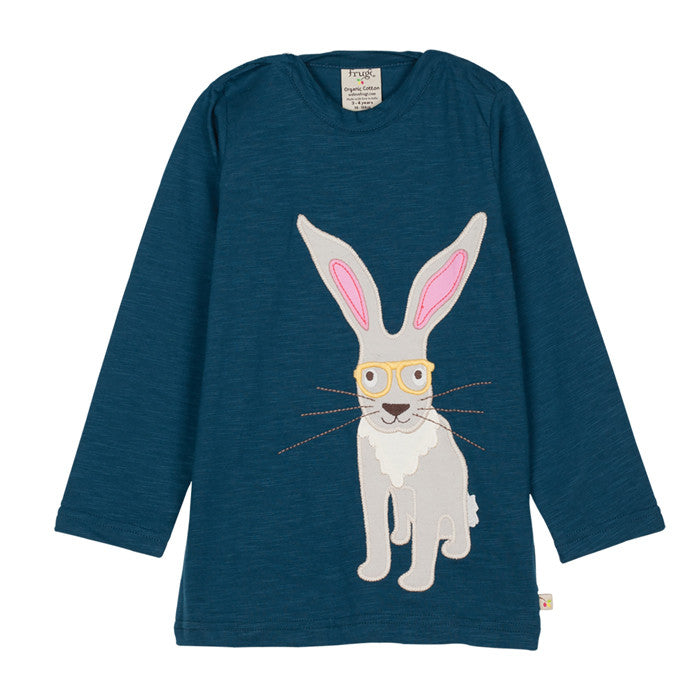 The Frugi Eliza hare applique long sleeve top at Small to TALL