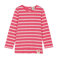 The ladybird pink breton stripe long sleeve top by Frugi is classic yet fun