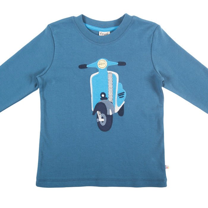 The Frugi Discovery Scooter Applique top available at Small to TALL