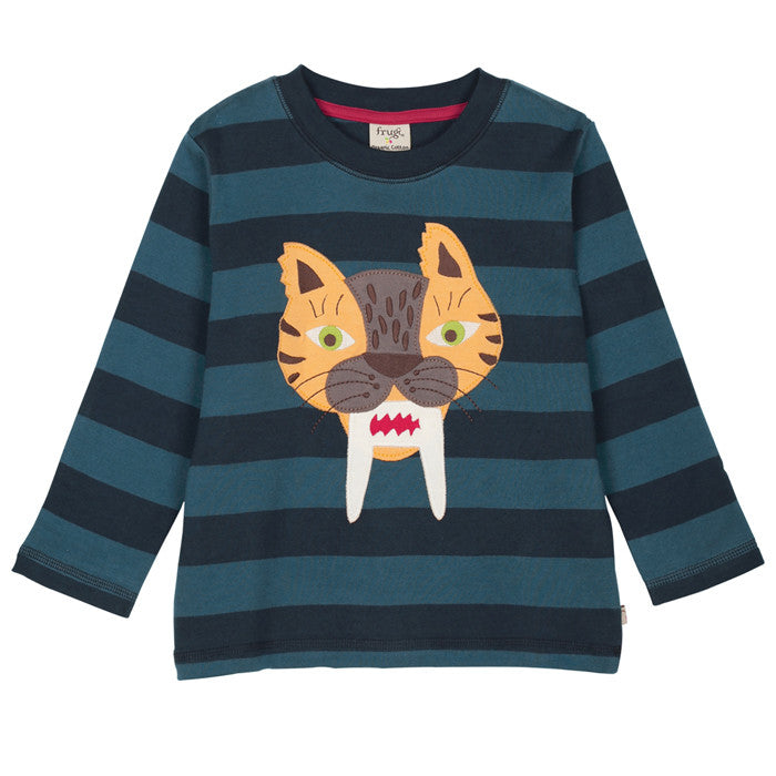 Tiger stripe applique organic cotton top by Frugi
