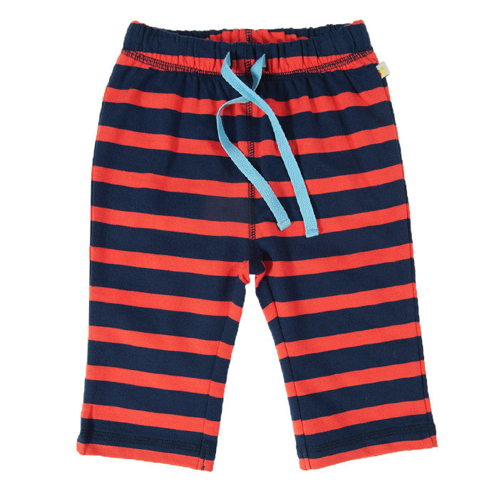 Tomato stripe baby trousers by Frugi available at Small to TALL