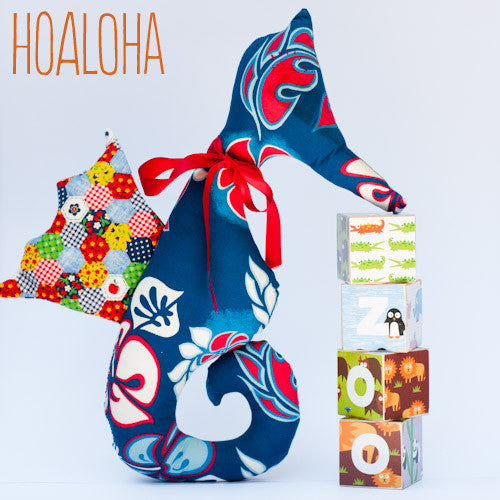 Hoaloha the Seahorse is hand made from vintage fabric by Revival Vintage Design at Small to TALL