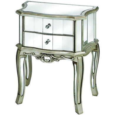 Argente Mirrored Two Drawer Bedside Table