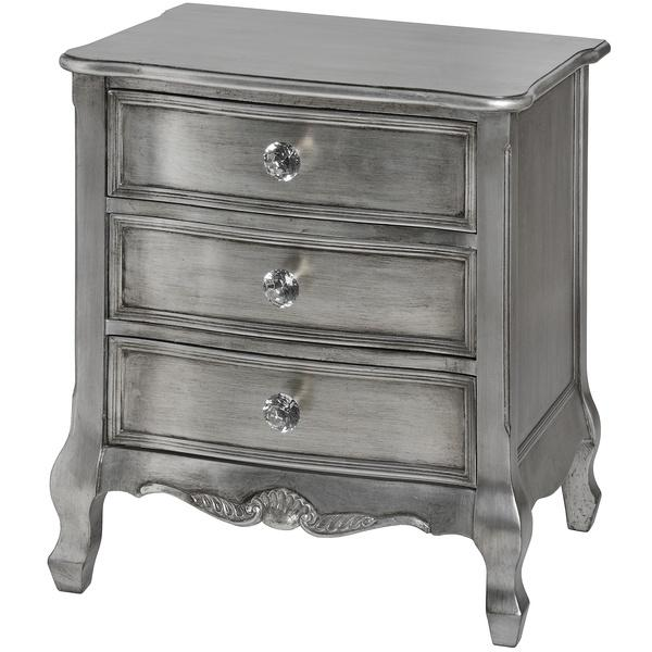 Estelle Collection Silver Leaf Three Drawer Bedside Table