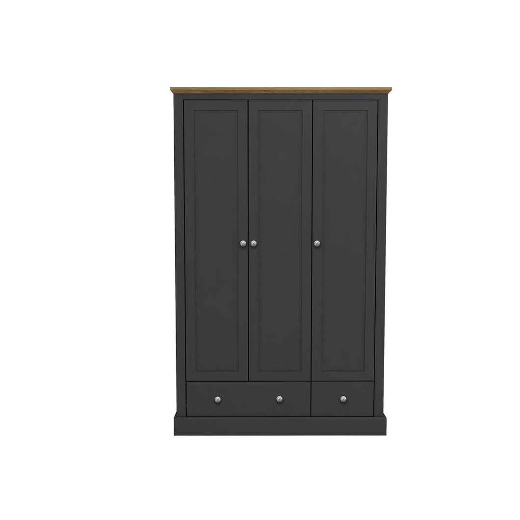 Devon 3 Door 2 Drawer Wardrobe Charcoal