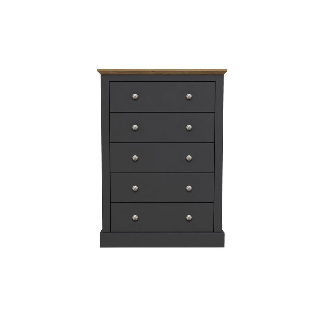 Devon 5 Drawer Chest Charcoal