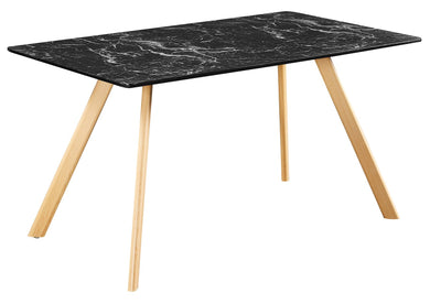 Venice Black Dining Table Marble Effect