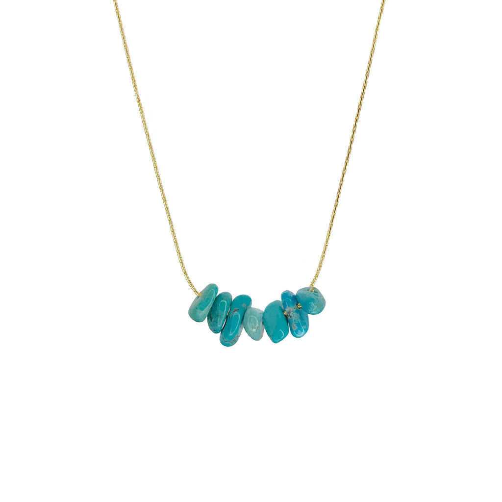 Protection Stone Turquoise Gold Necklace