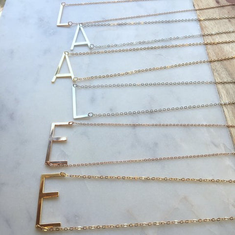 Gold Sideways Initial Necklace
