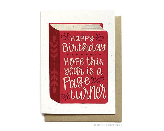 Page Turner - Bookworm Birthday Card