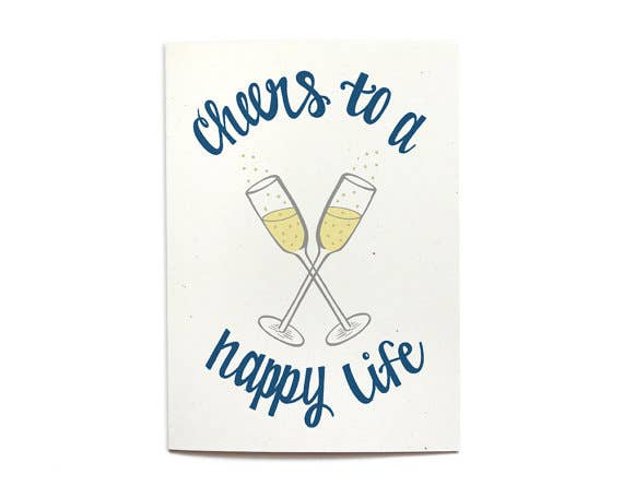 Cheers To A Happy Life Wedding Card