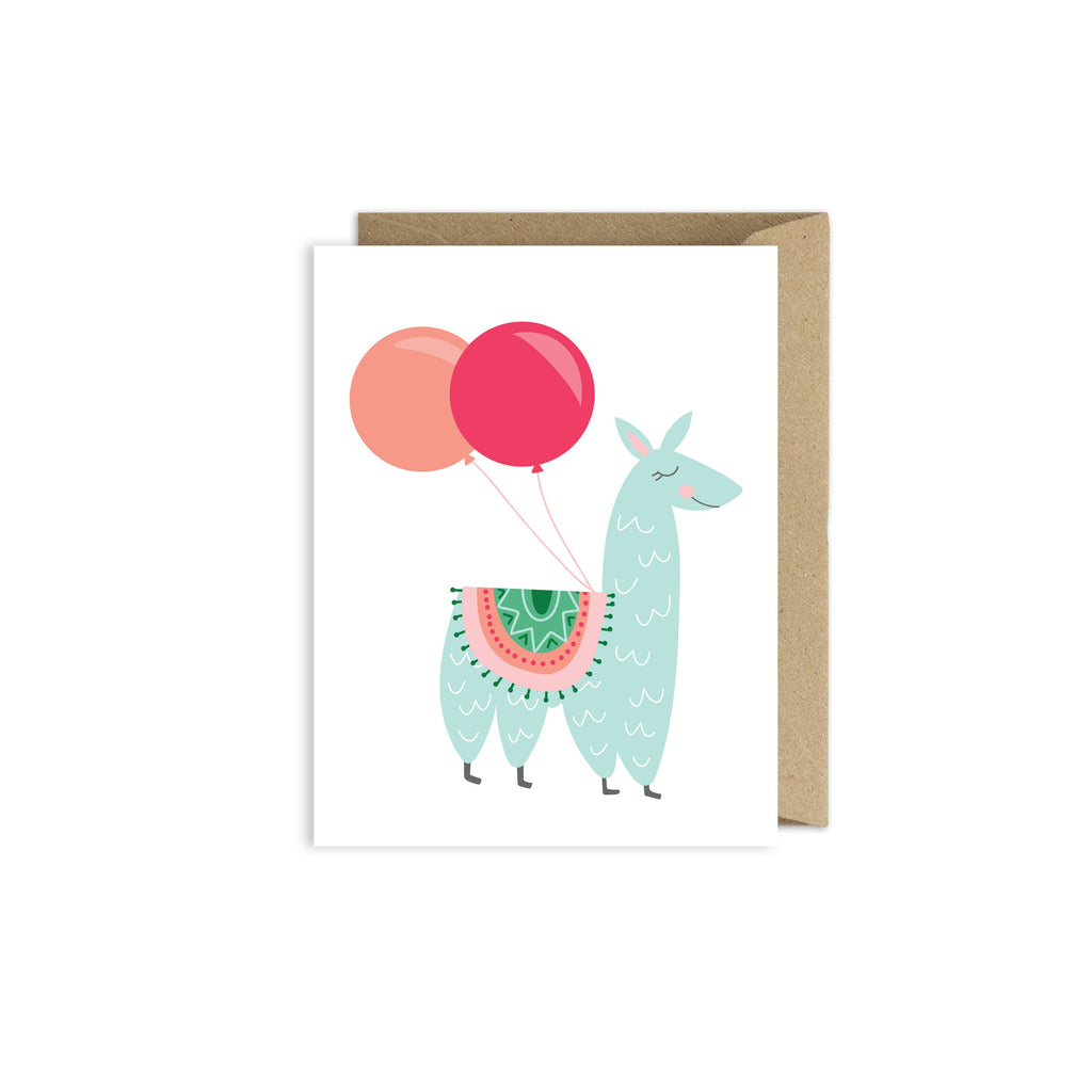 Llama Birthday Balloon Greeting Card
