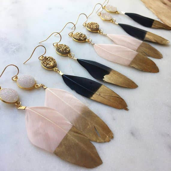 Gold Dipped Druzy Feather Earrings