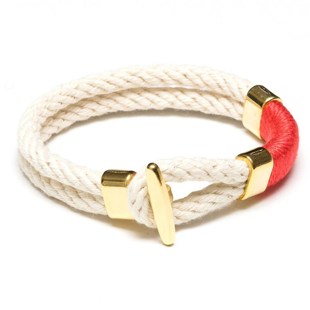 Cambridge Bracelet -  Ivory/Coral/Gold