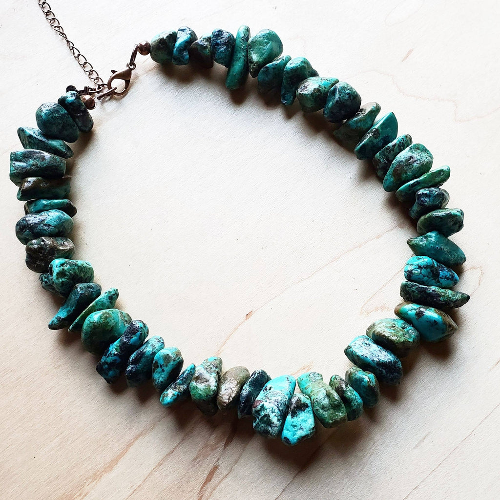 Chunky Genuine Natural Turquoise Collar Length Necklace