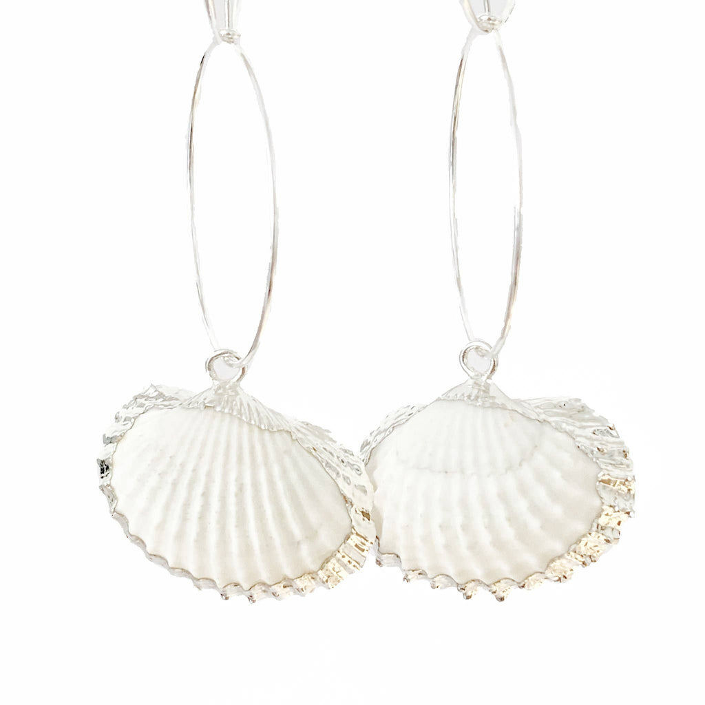 Cockle Shell Hoop Silver Earrings