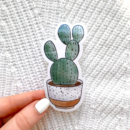 Watercolor Speckled Planter Cactus Sticker, 3x2 in.