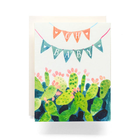 Antiquaria - Cactus Pennant Baby Greeting Card