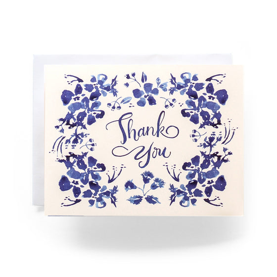 Blue Wildflower Thank You Greeting Card (Box Set of 8)