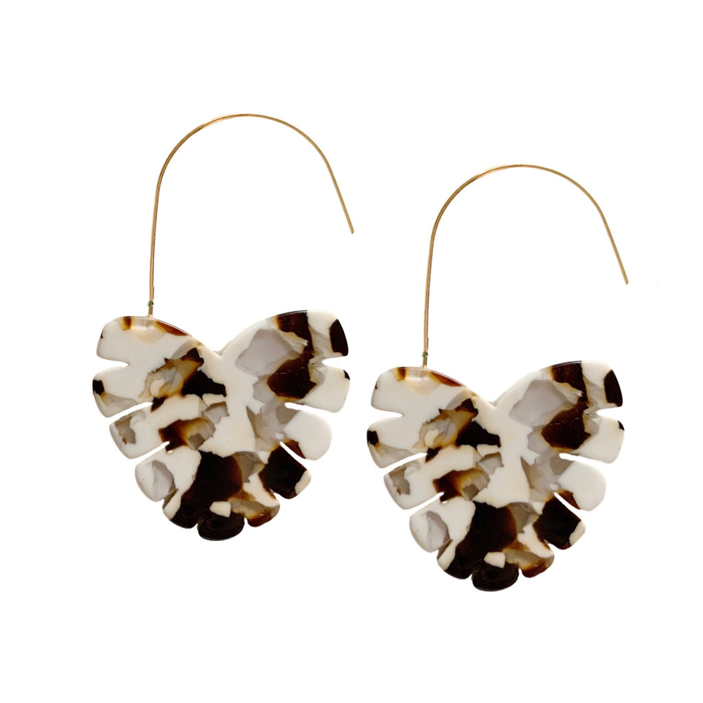 Monstera Cocoa Palm Threader Earrings