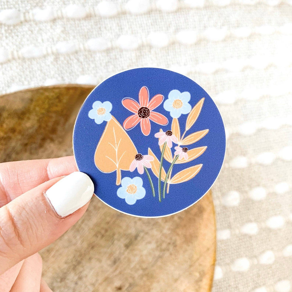 Blue Circle Floral Mini Sticker 2x2in. Sticker