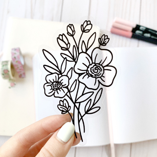 Clear Line Bouquet Sticker, 4x3 in.