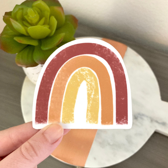 Red, Yellow, Orange Rainbow Sticker, 3x3 in.