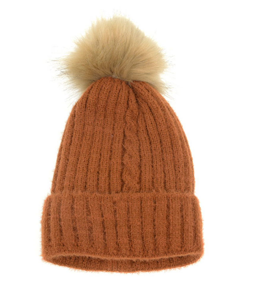 Single Cable Pom Pom Hat