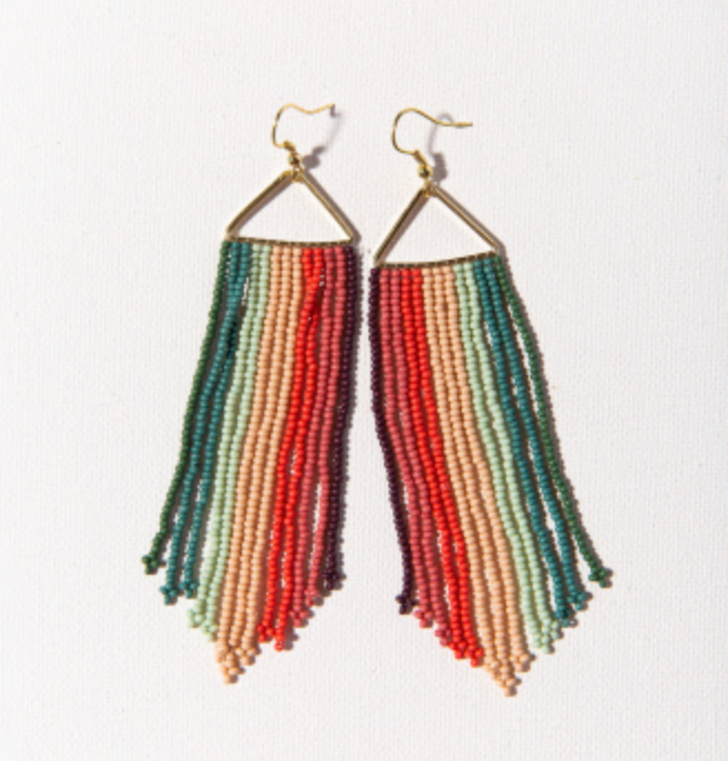 Striped Fringe Earrings