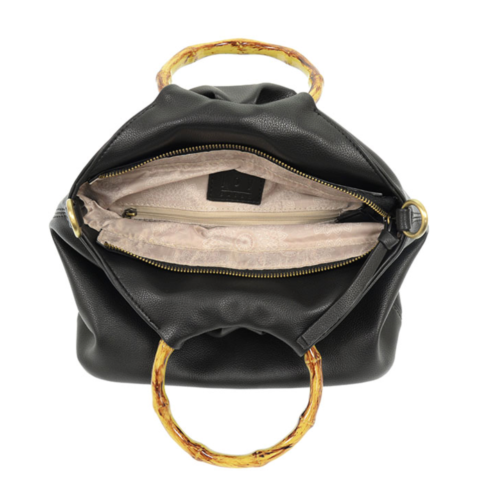 Natalie Bamboo Handle Pouf Handbag